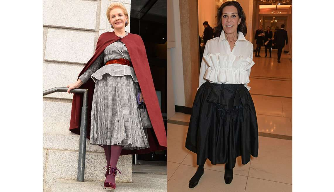 طراح لباس کارولینا هررا با دامن میدی و کمربند، پگی سیگال مجری تبلیغات با دامن میدی
