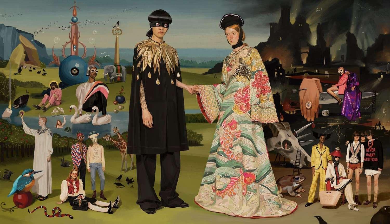 نقاشی کمپن گوچی با الهام از نقاشی باغ لذت های زمینی